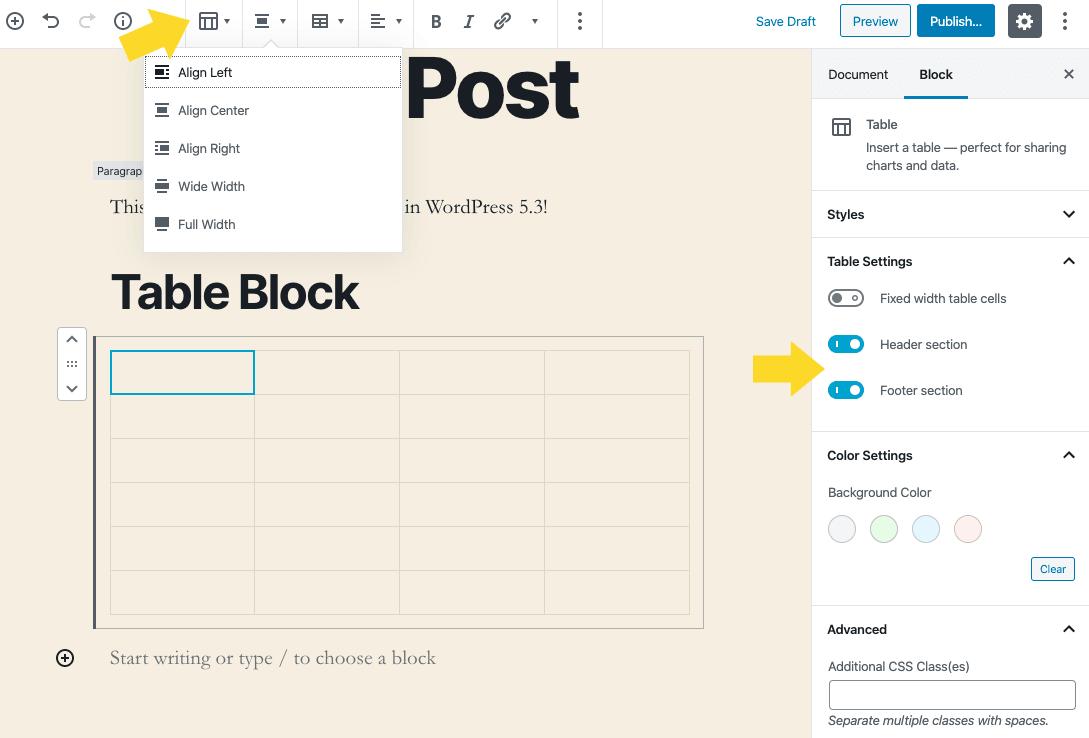 wordpress table block